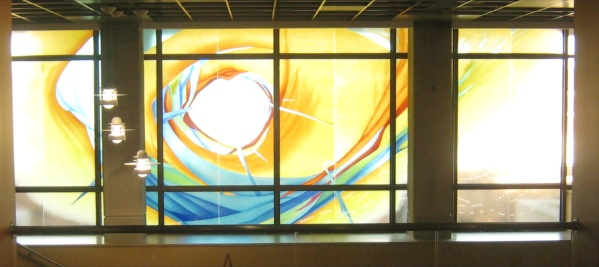 Share Your Knowledge stained glass installation
