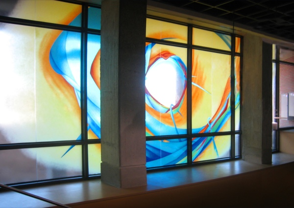 Share Your Knowledge stained glass installation at University of Wisconsin Student Union in Kenosha